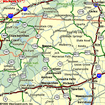 Carolina Mountain Maps and Weather - Cabin Rentals - Boone ...